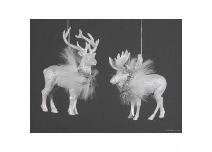 Новогодняя игрушка олень белый